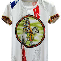 White Man Horse And Feather Printed T-shirt