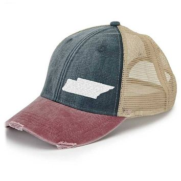 Tennessee Trucker Hat - Distressed Snapback -off-center state