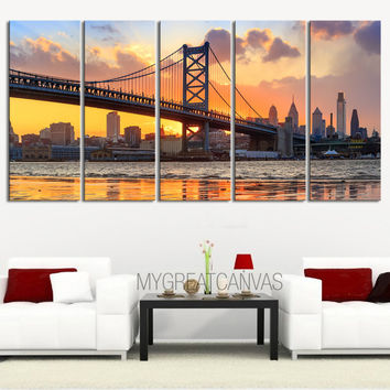 LARGE Wall Art Canvas Print Ben Franklin Bridge and Philadelphia Skyline by Night + Philadelphia Canvas Art Printing + Wall Art Canvas