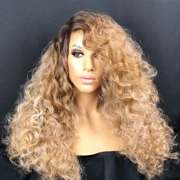 Ombre Sandy Brown| Ash Brown| Dirty Blonde| Blonde Lace Front Wig Human Hair Blend| Sandy Brown Wig, Sandy Blonde, Blond, Ash Blonde