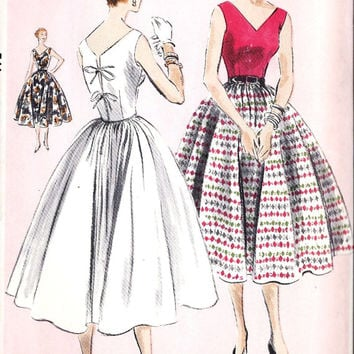"1950s Misses Party Dress, Summer Dress, Rockabilly Dress Vintage Sewing Pattern, Design 4963 bust 30"" uncut"