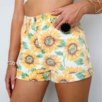 GRUNGE FESTIVAL SUNFLOWER HIGH WAISTED DENIM SHORTS 6 8 10 12