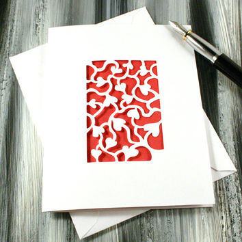Connected Hearts PaperCut General Greeting Card