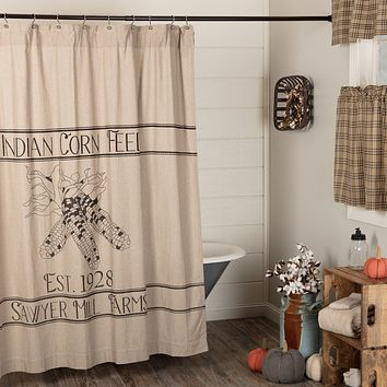Sawyer Mill Charcoal Corn Feed Shower Curtain