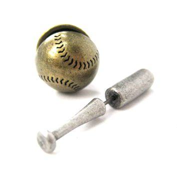 Fake Gauge Earrings: Baseball Bat and Ball Shaped Faux Plug Stud Earrings
