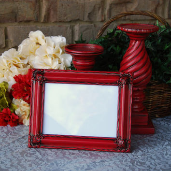 Ornate picture frame: Vintage country cottage chic red 5x7 hand-painted decorative tabletop photo frame with easel back