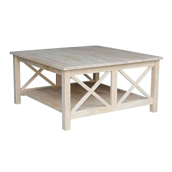 Square Unfinished Solid Wood Coffee Table with Bottom Shelf