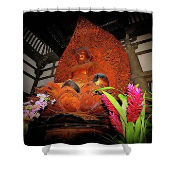 Buddha Flowers - Shower Curtain