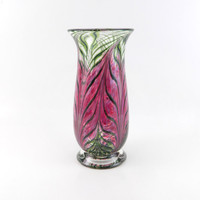Hand Blown Glass Vase -Rose Pink - Art Glass Vase - Fuchsia - Pulled Feather Pattern - Fluted - Freeform