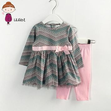 Autumn girl's clothes newborn out clothes suit, Long sleeve shirt + trousers 2 piece clothing set kids clothes  peacock pattern