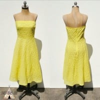 J. Crew Crinkle Cotton Strapless Yellow Dress 2/4