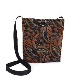 Brown crossbody bag, Black crossbody tote, Printed sling bag, Brown print purse, Floral print handbag, Fabric crossbody bag