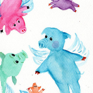Colorful  Flying Pigs painting - FLYING PIG ART Watercolor 5 x 7 inches, when pigs fly original