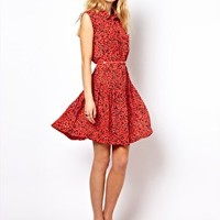 French Connection Drop Waist Dress With Belt at asos.com