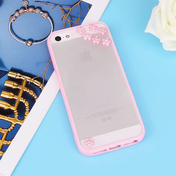 Simple For Apple iPhone 4 4S 5 5S 5SE SE 5C 6 6S 7 Plus FLOVEME Luxury Silicone Case Flower Bling Diamond Chic Clear Back Phone