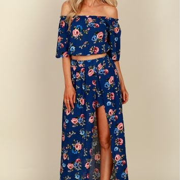 Romantic Rose Maxi Skirt Navy