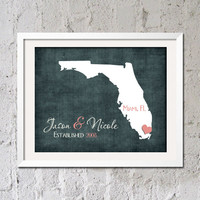 Florida Personalized FAMILY Name ANY STATE Established Date Love Print Wedding Anniversary Gift Artwork Wall Decor Art