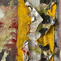 Rip (yellow) // Original Abstract Contemporary Artwork // Acrylic paint and silver tape on recycled cardboard