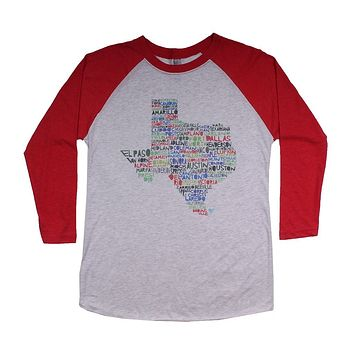 Texas Cities and Towns Raglan Tee Shirt in Red by Southern Roots