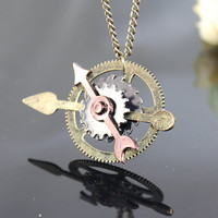Steam Punk Clock Gear Necklace---can move:)