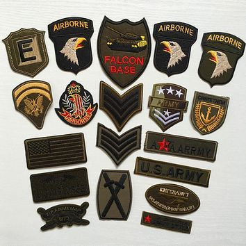 Super Quality 9pcs Mix Military Motif Set Embroidered Patches for Clothing Sew Iron on Clothes Badge Patch Army Appliques