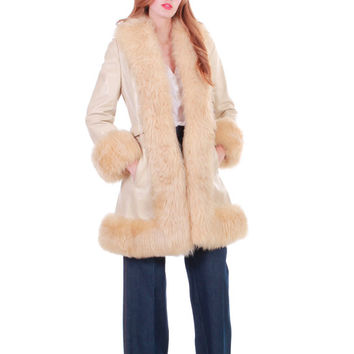 70s Vintage Tan Leather Shearling Princess Coat Shaggy Fluffy Penny Lane Ultimate Boho Hippie Winter Clothing Womens Size Small