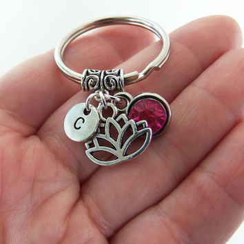 Lotus keychain, lotus key chain, lotus keyring, lotus key ring, lotus flower, water lilly, birthstone keychain, initial keychain, customized