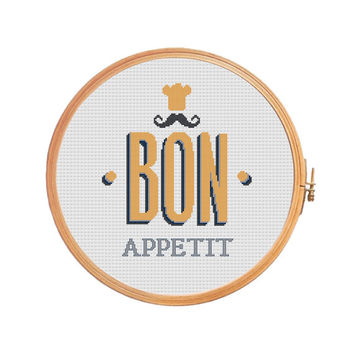 Funny cross stitch pattern Bon Appetit (instant download pattern)