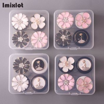 1 Box Portable Flower Glasses Double Contact Lenses Box Contact Lens Case For Eyes Care Kit Holder Container Gift Random Color