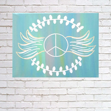 Peace wings acrylic canvas painting for girls room, dorm room, or home decor