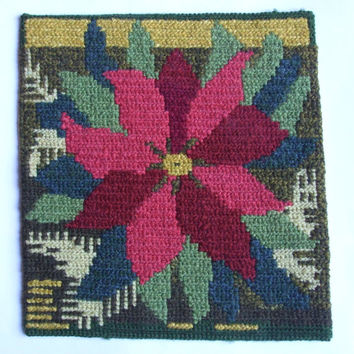 Christmas Vintage Table Decoration /Table Topper/cross stitch/Table tapestry/Poinsettia fabric/ table runner/Poinsettia/ Candle Mat/ Coaster