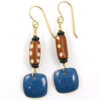 Blue Enamel Earrings - Tribal Brown Polka Dot Gold Dangle Bone Jewelry