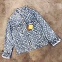 "Louis Vuitton""LV x Supreme ''Fashion Embroidery Distressed Denim Cardigan Jacket Coat"
