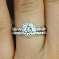 Christie 6mm & Callie 14kt White Gold Round FB Moissanite and Diamonds Halo WITH Milgrain Wedding Set (Other metals and stone available)