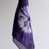 Dark blue purple naturally dyed handkerchiefs, set of two ponge silk hankies, hand dyed with logwood