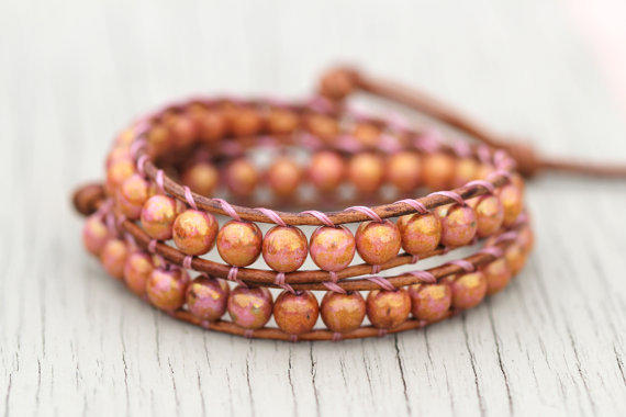 Wrap Bracelet : Adjustable Opaque Rose and Topaz Luster Bohemian Beaded Double Wrap with Natural Leather Cord and Gold Button