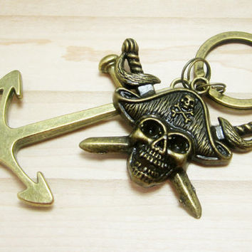 Pirate Keychain Anchor Key Chain Mens Boat Keys Pirate Skull Charm Swords Bronze Charms