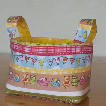 Small Fabric Storage Bin Basket - Fun Owl Stripe with Yellow Flower