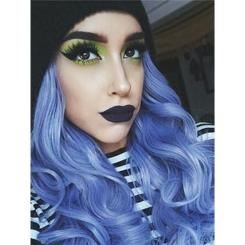Ocean Blue Ombre Long Wavy Synthetic Lace Front Wig