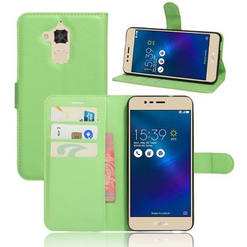 PU Leather Cover Case For Asus Zenfone 3 Max ZC520TL 5.2 Inch Flip Protective Mobile Phone Shell Back Cover Skin With Slot