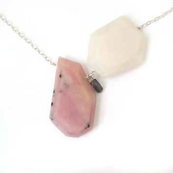 Modern Statement Necklace Genuine Pink Opal Colorful Pale Pink Pendant Genuine Iolite Necklace Colorful Jewelry Sterling Silver Jewelry