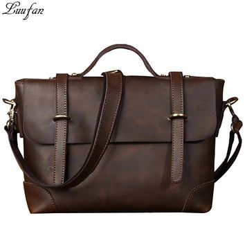 Crazy Horse Genuine Leather Men Bag Men Briefcase mens Leather business Laptop Bag Crossbody shoulder Bags for Man handbags