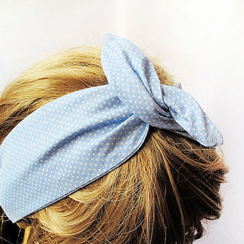 Vintage Style  Blue Spotted  Headband , Womens Hair Wrap, Functional,  style, Hippie Headband, Daily, Simple