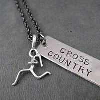 Running Girl Cross Country Artisan Dog Tag Style Pendant Necklace - Sterling Silver Running Girl Charm with Hand Hammered Nickel Silver Hand Stamped Pendant on 18 inch Gunmetal Chain