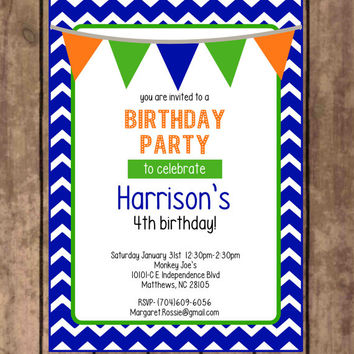 Birthday Invitations - boy invitations - printable - diy - blue - green - orange