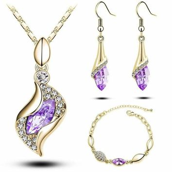 Elegant Luxury Design  Fashion Colorful Austrian Crystal Drop Jewelry Sets