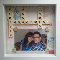 Together forever Engagement gift white box photo frame scrabble custom letters engagement gift personalised anniversary gift.