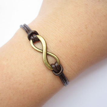 infinity Bracelet---antique bronze little karma bracelet---infinity wish & brown leather chain