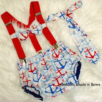 Boys Nautical Cake Smash Set, Anchors Cake Smash, Boys First or Second Birthday Cake Smash Outfit, Birthday Outfit