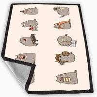 Pusheen The Cat Emoticon Blanket for Kids Blanket, Fleece Blanket Cute and Awesome Blanket for your bedding, Blanket fleece *